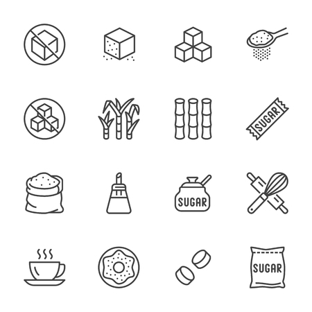 Sugar cane, cube flat line icons set. Sweetener, stevia, bakery products vector illustrations. Outline signs for sugarless food. Pixel perfect. Editable Strokes.