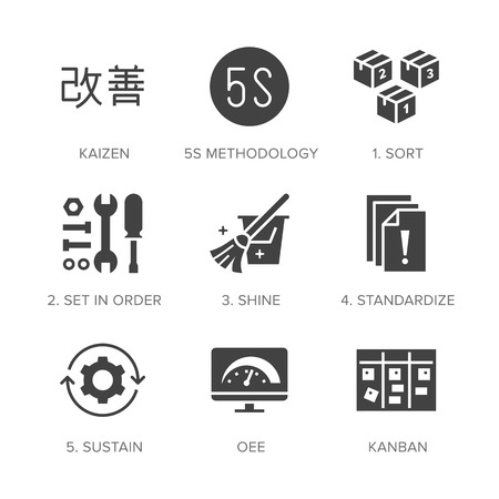 Kaizen, 5S methodology flat glyph icons set. Japanese business strategy, kanban method vector illustrations. Signs for management. Solid silhouette pixel perfect 64x64. Illustration