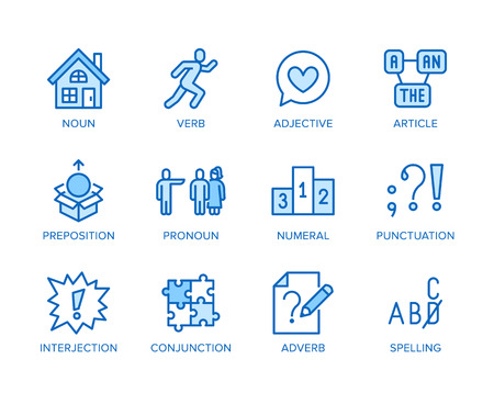 Grammar, education flat line icons set. Parts of speech verb, preposition, pronoun, adjective, interjection vector illustrations. Thin signs for english learning. Pixel perfect 64x64 Editable Strokes.