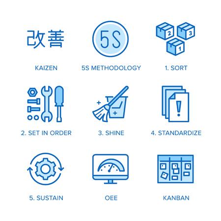 Kaizen, conjunto de iconos de línea plana de metodología 5S. Estrategia empresarial japonesa, ilustraciones vectoriales del método kanban. Señales finas para la gestión. Pixel perfect 64x64. Trazos editables.