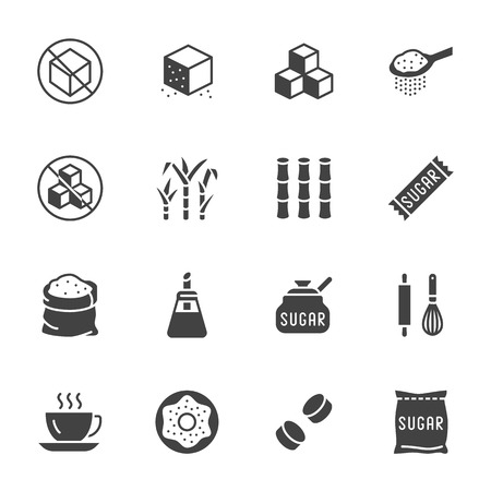 Sugar cane, cube flat glyph icons set. Sweetener, stevia, bakery products vector illustrations. Signs for sugarless food. Solid silhouette pixel perfect 64x64.