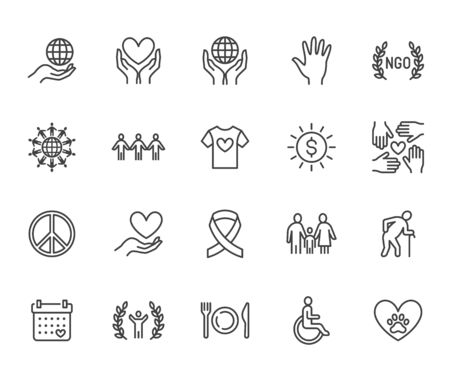 Charity flat line icons set. Donation, nonprofit organization, NGO, giving help vector illustrations. Outline signs for donating money, volunteer community. Pixel perfect 64x64. Editable Strokes. Illustration