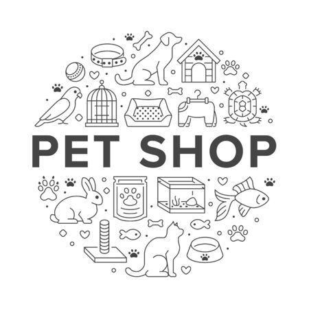 Pet shop vector circle banner with flat line icons. Dog house, cat food, bird cage, rabbit, fish aquarium, animal paw, collar illustrations. Thin signs veterinary poster isolated on white background.
