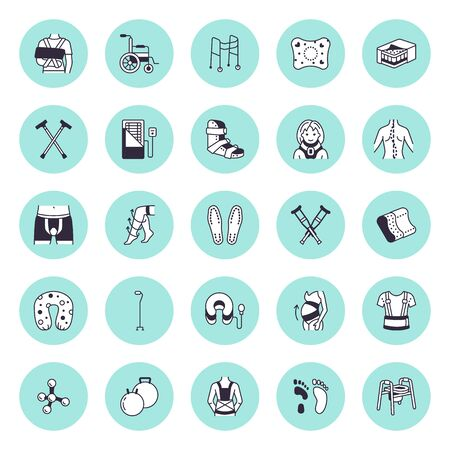Orthopedic, trauma rehabilitation vector line icons. Crutches, mattress pillow, cervical collar, walkers, ergonomic shoes, chiropractic. Health care thin linear signs for osteopath clinic, hospital.