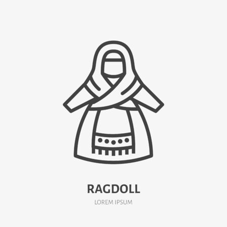 Russian rag doll flat line icon. Vector thin sign of traditional ragdoll, folk logo. Handmade textile toy outline illustration.