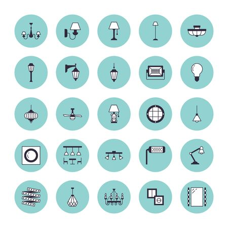 Light fixture, lamps flat line icons. Home and outdoor lighting equipment - chandelier, wall sconce, bulb, power socket. Vector illustration, signs for electric, interior store. Vector Illustration