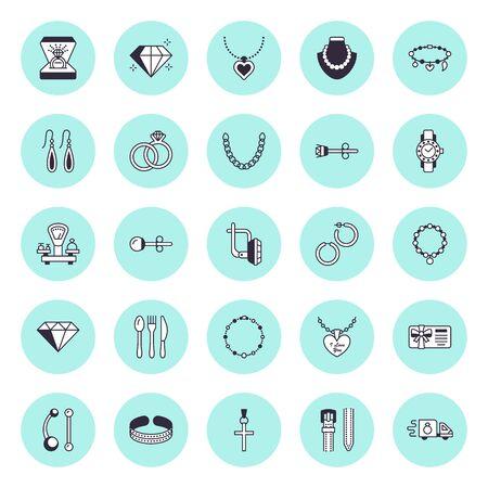 Iconos de línea plana de joyería, letreros de tienda de joyería. Accesorios femeninos: anillos de compromiso de oro, pendientes de gemas, cadenas de plata, collares grabados, diamantes. Ilustración de vector