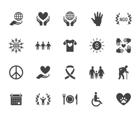 Charity flat glyph icons set. Donation, nonprofit organization, NGO, giving help vector illustrations. Signs for donating money, volunteer community. Solid silhouette pixel perfect 64x64. Illustration
