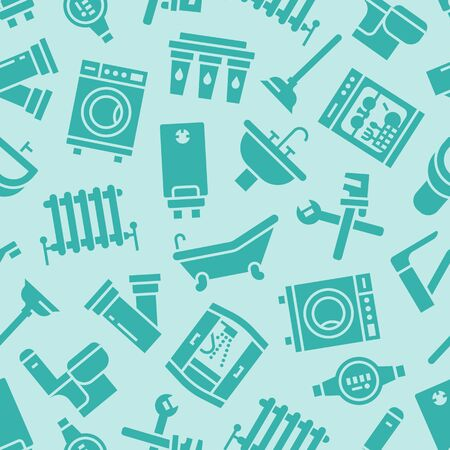 Modèle sans couture de vecteur de service de plomberie avec des icônes de silhouette plate d'équipement de salle de bain de maison, robinet, toilettes, machine à laver, lave-vaisselle. Illustration de réparation de plombier, signes pour les services de bricoleur.