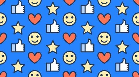 Feedback seamless pattern with flat line icons of thumbs up, like, star, happy customer. Simple background for client review, survey. Stockfoto - 126590893