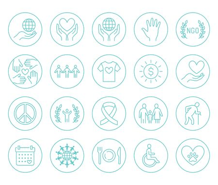 Charity flat line icons set. Donation, nonprofit organization, NGO, giving help vector illustrations. Outline signs in circle for donating money, volunteer community. Illustration