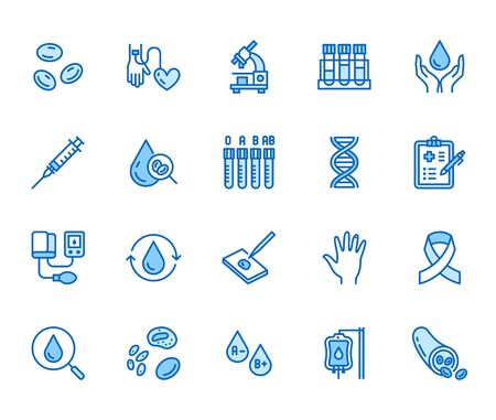 Hematology flat line icons set. Blood cell, vessel, sphygmomanometer, DNA test, biochemical microscope vector illustrations. Outline signs for donor day. Pixel perfect 64x64. Editable Strokes.