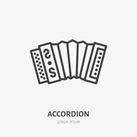 Accordion flat line icon. Vector thin sign of russian musical instrument. Harmonic outline illustration. Ilustrace