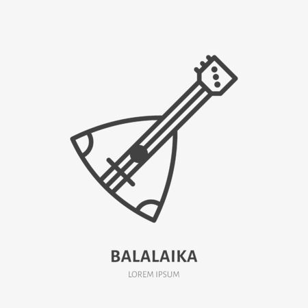 Balalaika flat line icon. Vector thin sign of russian musical instrument, outline illustration.