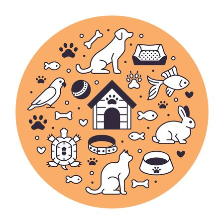 Pet shop vector circle banner with flat line icons. Dog house, cat food, bird, rabbit, fish, animal paw, bowl illustrations. Thin signs for veterinary poster isolated on orange background.