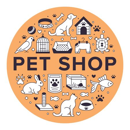 Pet shop vector circle banner with flat line icons. Dog house, cat food, bird cage, rabbit, fish aquarium, animal paw, collar illustrations. Thin signs veterinary poster isolated on orange background.