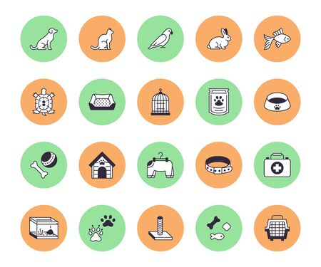 Pet shop flat line icons set. Dog carrier, cat scratcher, bird cage, rabbit, fish aquarium, pets paw, collar vector illustrations. Thin signs for veterinary. Ilustrace