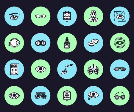 Ophthalmology, eyes health care vector line icons. Optometrist equipment, contact lenses, glasses, blindness, laser surgery. Vision correction thin linear signs for oculist clinic.