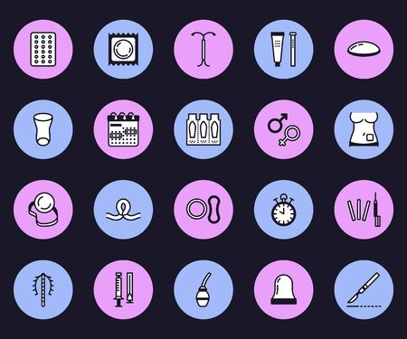 Contraceptive methods line icons. Birth control equipment, condoms, iud, barrier contraception, vaginal ring, sterilization. Safe sex thin linear signs for medical clinic.