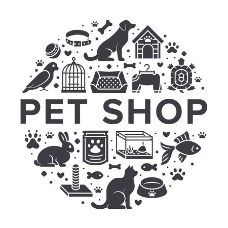 Pet shop vector circle banner with flat silhouette icons. Dog house, cat food, bird, rabbit, fish, animal paw, bowl illustrations. Signs for veterinary poster isolated on white background. Stock Illustratie