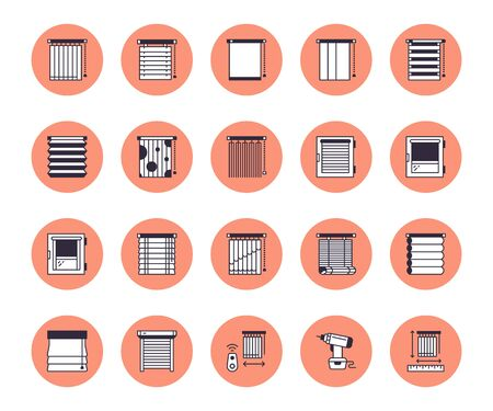 Window blinds, shades line icons. Various room darkening decoration, roller shutters, roman curtains, horizontal and vertical jalousie. Interior design signs for house decor shop. Stock Illustratie