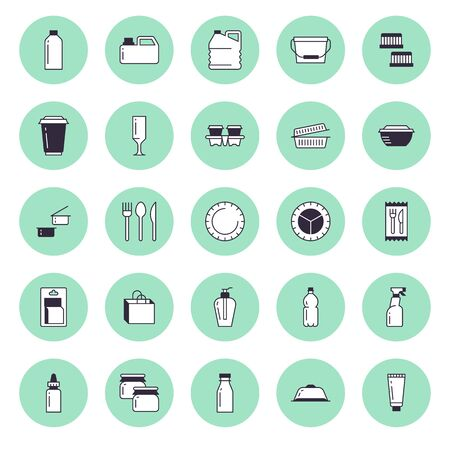 Plastic packaging, disposable tableware line icons. Product packs, container, bottle, canister, plates cutlery. Container thin signs for shop, synthetic material goods production. Stock Illustratie