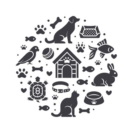 Pet shop vector circle banner with flat silhouette icons. Dog house, cat food, bird, rabbit, fish, animal paw, bowl illustrations. Signs for veterinary poster isolated on white background. Ilustrace