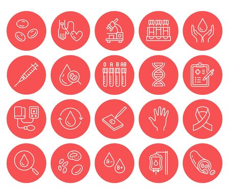 Hematology flat line icons set. Blood cell, vessel, sphygmomanometer, dna test, biochemical microscope vector illustrations. Outline red signs for donor day.