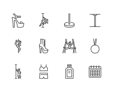 Pole dance flat line icons set. Sexy girl dancing, stripper high heels shoe vector illustrations. Outline signs for aerial gymnastics school. Pixel perfect 64x64. Editable Strokes.