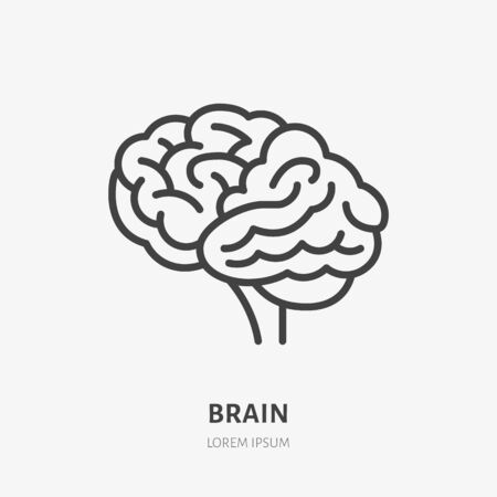 Brain flat line icon. Vector thin pictogram of human internal organ, outline illustration for neurology clinic, psychology.