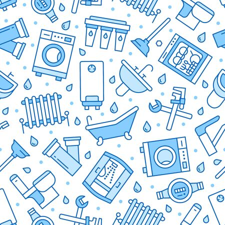 Plumbing service vector seamless pattern with flat line icons of house bathroom equipment, faucet toilet, washing machine, dishwasher. Plumber repair illustration, thin linear signs, handyman service.
