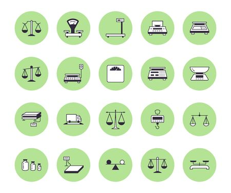 Balance flat line icons set. Weight measurement tools, diet scales, trade, electronic, industrial scale calibration vector illustrations. Thin sign justice concept.