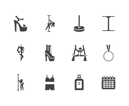 Pole dance flat glyph icons set. Sexy girl dancing, stripper high heels shoe vector illustrations. Black signs for aerial gymnastics school. Silhouette pictogram pixel perfect 64x64.