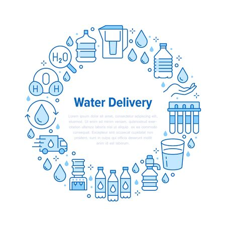 Pure water vector circle banner with flat line icons. Aqua filter, potable liquid, glass, office cooler vector illustrations. Thin signs for bottle delivery. Blue color. Ilustração
