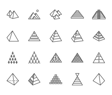 Pyramid flat line icon set. Egyptian monument, abstract process infographic, ponzi scheme, network marketing, leader concept vector illustrations, outline signs.