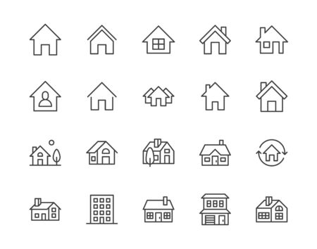 Houses flat line icons set. Home page button, residential building, country cottage, apartment vector illustrations. Outline simple signs for real estate. Pixel perfect 64x64. Editable Strokes.  イラスト・ベクター素材
