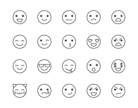 Ensemble d'icônes de ligne plate d'émotions. Visage heureux, triste, colère, sourire, illustrations vectorielles d'émoticônes d'expression faciale. Décrire les signes pour les commentaires sur l'expérience client. Pixel parfait 64x64. Coups modifiables.