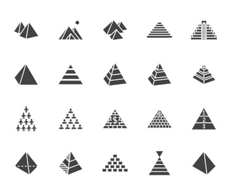 Pyramid flat glyph icon set. Egyptian monument, abstract process infographic, ponzi scheme, network marketing, leader concept vector illustrations, signs.