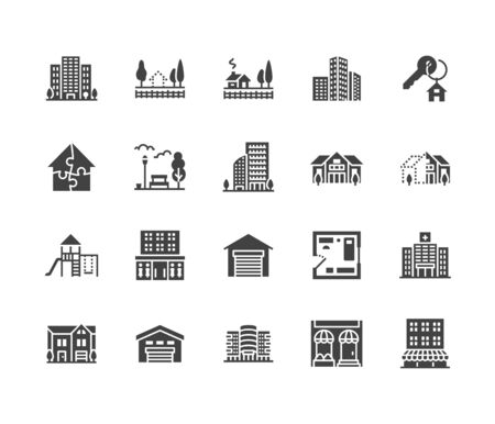 Real estate flat glyph icons set. House sale, commercial building, country home area, skyscraper, mall, kindergarten vector illustrations. Infrastructure signs. Solid silhouette pixel perfect 64x64. Stockfoto - 129389141