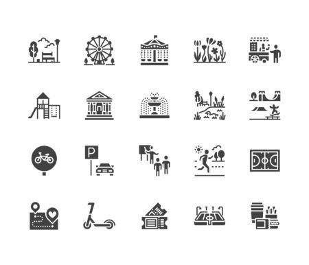 Ensemble d'icônes de glyphe plat de parc. Jardin botanique, carrousel, grande roue, musée, excursion, étang, nourriture de rue, illustrations vectorielles de fontaine. Signes pour l'extérieur. Pixel de silhouette solide parfait 64x64