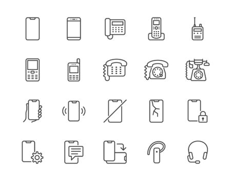 Phone flat line icons set. Smartphone, landline telephone, portable device, walkie talkie, broken display vector illustrations. Outline signs technology store. Pixel perfect 64x64. Editable Strokes.