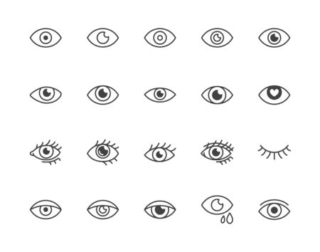 Eye flat line icons set. Tired eyes, vision, eyesight, makeup simple vector illustrations. Outline signs for visibility concept, optometrist clinic. Pixel perfect 64x64. Editable Strokes. 일러스트