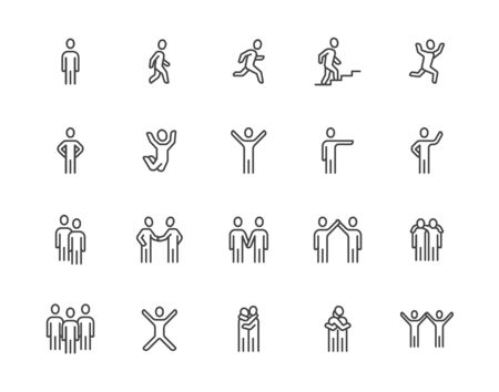 People flat line icons set. Person walking, running, jumping, climbing stairs, happy man, company leader, friends hugs vector illustrations. Human outline signs. Pixel perfect 64x64. Editable Strokes.