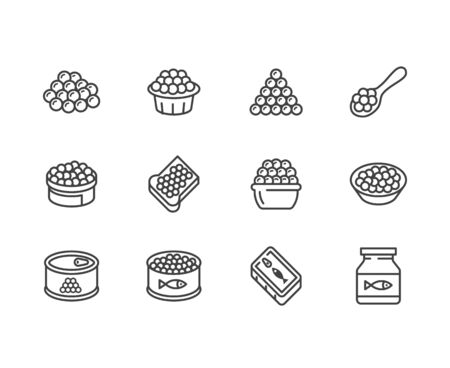 Red caviar flat line icons set. Canned fish eggs, tobiko roe, appetizer vector illustrations. Outline signs for seafood store. Pixel perfect 64x64. Editable Strokes.