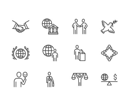 Diplomacy flat line icons set. Global politics, handshake, international business, presentation vector illustrations. Outline signs for diplomatic meeting. Pixel perfect 64x64. Editable Strokes.
