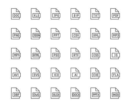 File format flat line icons set. Doc, xls, jpeg, zip, txt, pdf, xml, mp3 document vector illustrations. Outline signs for extension. Pixel perfect 64x64. Editable Strokes.