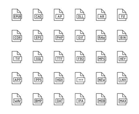 ファイル形式のフラットラインアイコンセット。Epub、 dll、 pps, gif, sql, fb2, eps, アプリドキュメントベクトルイラスト.拡張のアウトライン記号。ピクセルパーフェクト64x64。編集可能なストローク。 ベクターイラストレーション
