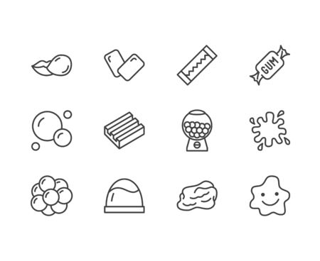 Bubble gum flat line icons set. Chewing candy in stick, pads, bubblegum pack, slime blob vector illustrations. Outline signs for sweets store. Pixel perfect 64x64. Editable Strokes.