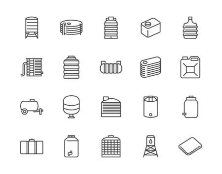 Ensemble d'icônes de ligne plate de réservoir d'eau. Stockage de liquide, récipient en plastique, récupération d'eau de pluie, baril de pétrole en plastique, illustrations vectorielles. Décrire les signes pour l'industrie aquatique. Pixel parfait 64x64. Course modifiable