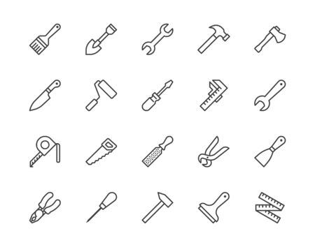 Construction tools flat line icons set. Hammer, screwdriver, saw, spanner, paintbrush vector illustrations. Outline signs for carpenter, builder equipment store. Pixel perfect 64x64. Editable Strokes.